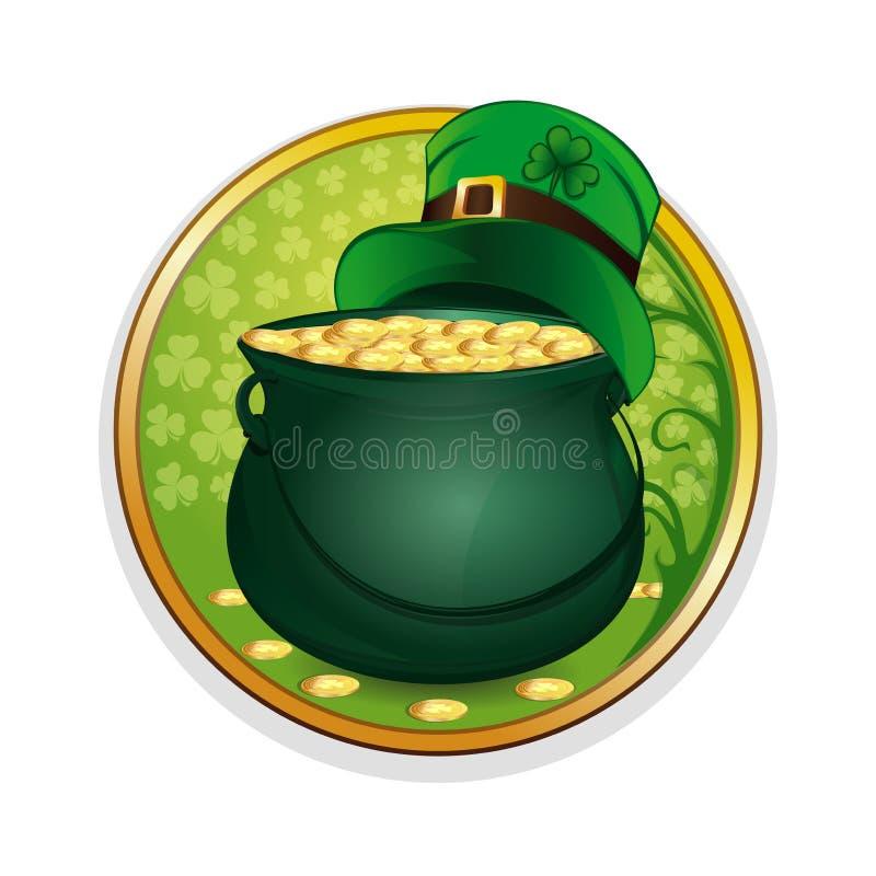 Волшебная шляпа горшка с золотом и лепрекона Праздновать символы дня St Patricks иллюстрация штока