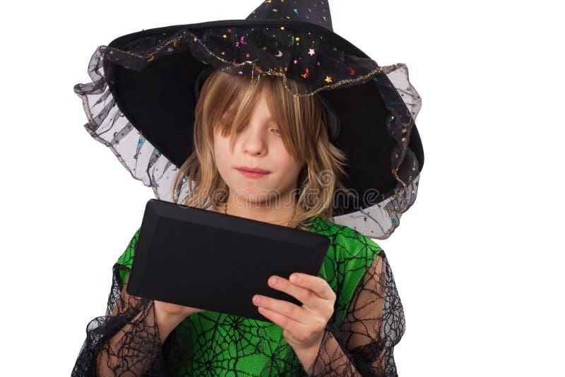 Волшебник и ее таблетка стоковые фото