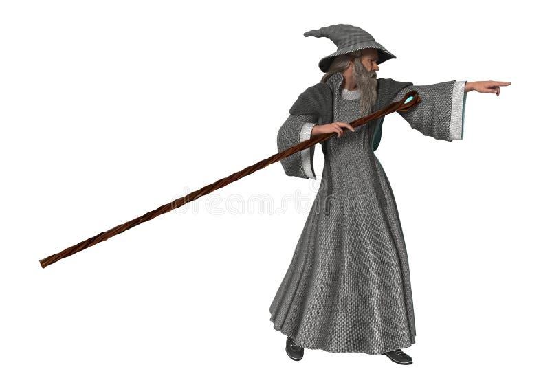 Волшебник фантазии на белизне стоковая фотография rf
