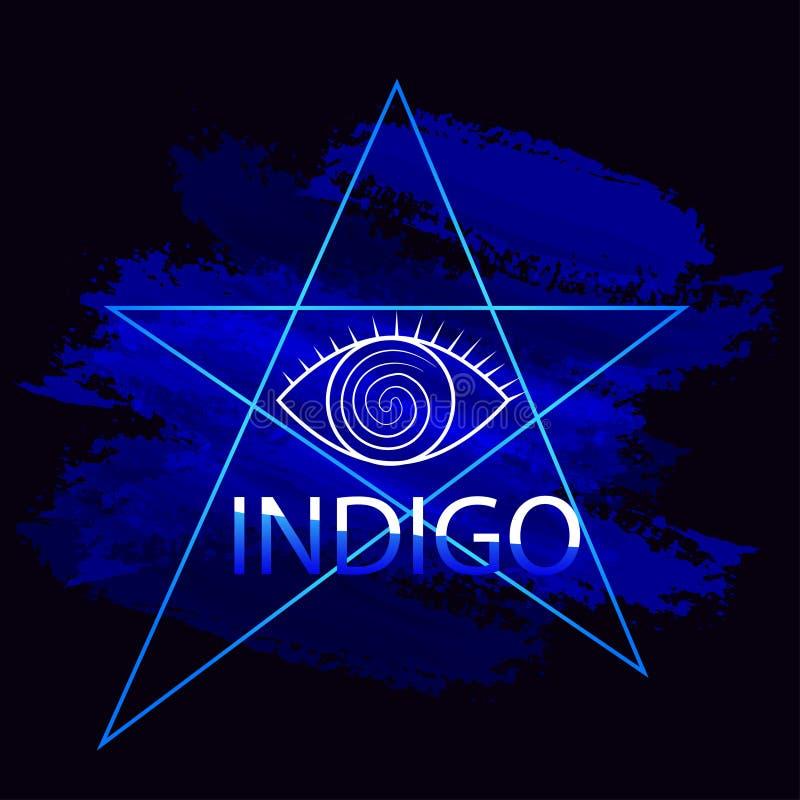 Волшебные пятна сини индиго символа яркие красочные стоковое изображение