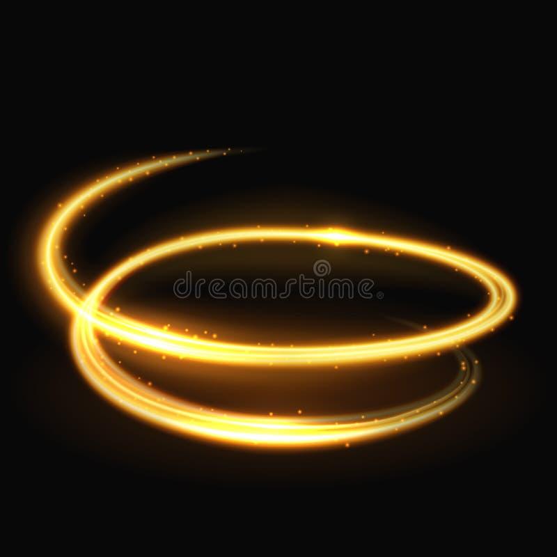 Волшебные светлые спиральные glitz и очарование vector влияние на черной предпосылке иллюстрация штока