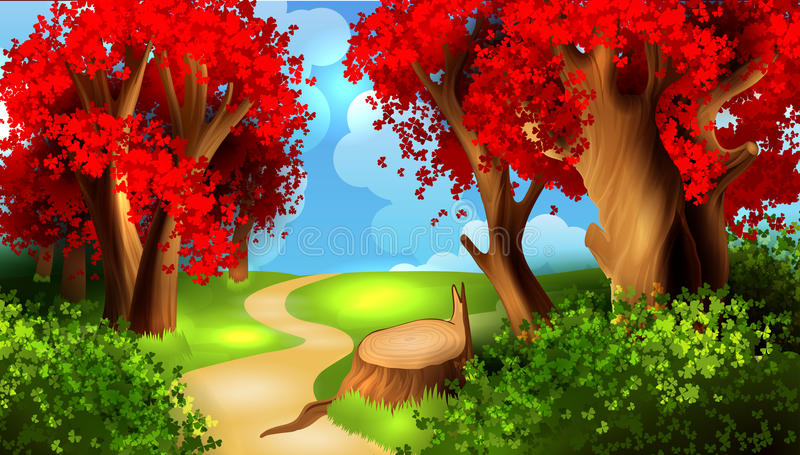 Волшебный ландшафт шаржа иллюстрация вектора