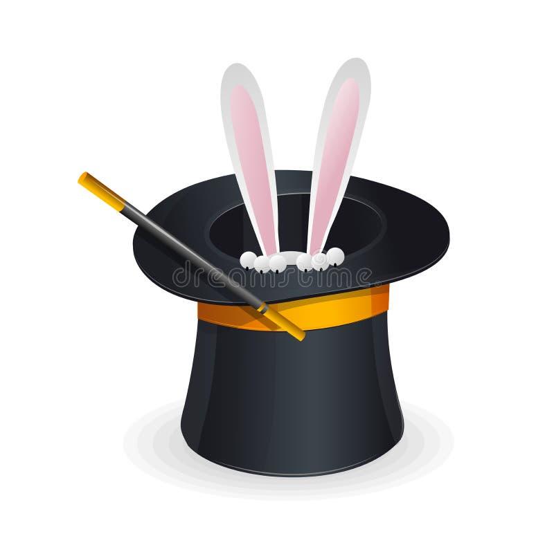 Волшебный вектор и кролик шляпы иллюстрация штока