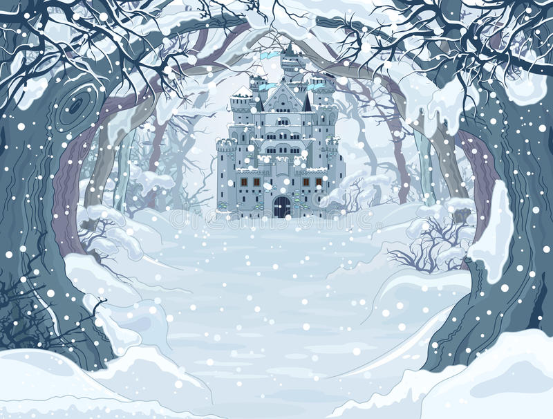 Волшебный замок зимы иллюстрация штока