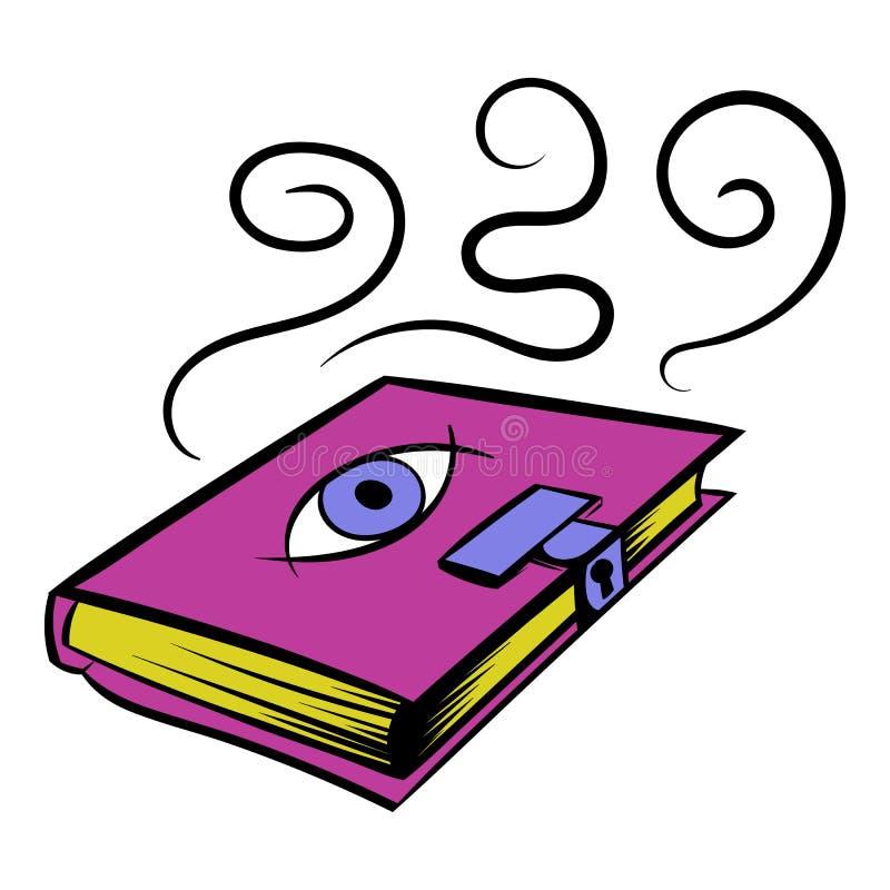 Волшебный значок книги, шарж значка иллюстрация вектора