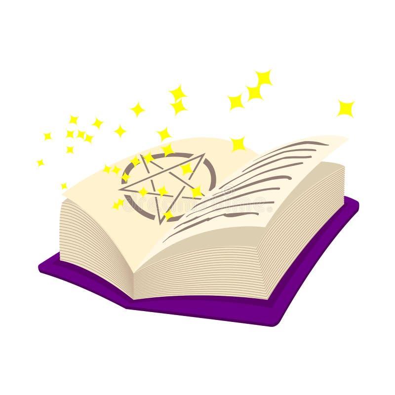 Волшебный значок шаржа книги иллюстрация вектора