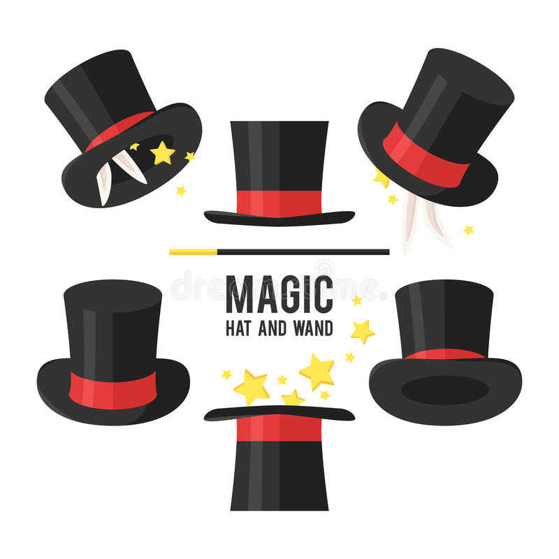 Волшебный комплект шляпы иллюстрация штока