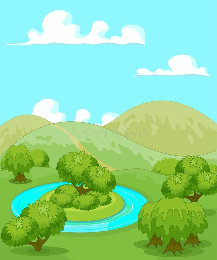 Волшебный сельский ландшафт иллюстрация штока