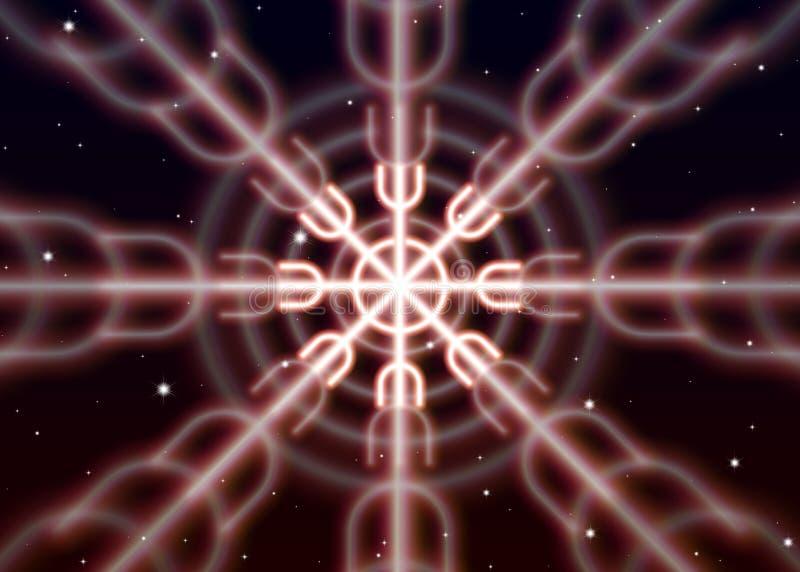 Волшебный символ ginnir распространяет сияющую мистическую энергию в духовном космосе иллюстрация штока