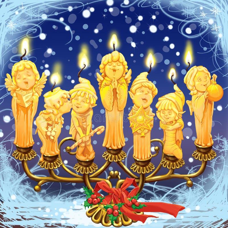 7 волшебных свечей рождества в подсвечнике иллюстрация штока