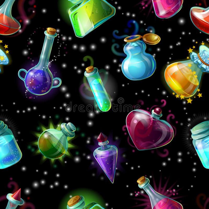 Волшебство разливает картину по бутылкам иллюстрация вектора