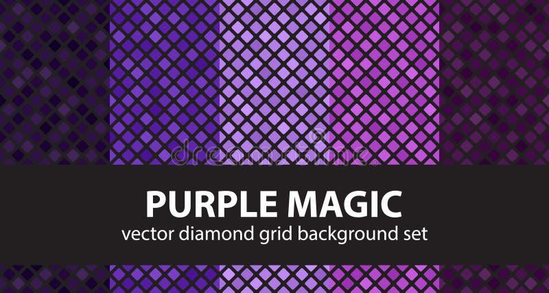 Волшебство ромбовидного узора установленное фиолетовое Задняя часть вектора безшовная геометрическая стоковое фото rf