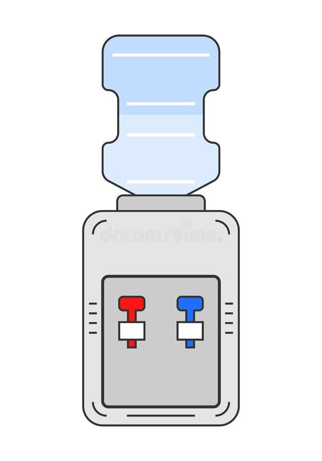 Водяное охлаждение Плоское оборудование значка цвета для выпивать чистая вода бесплатная иллюстрация