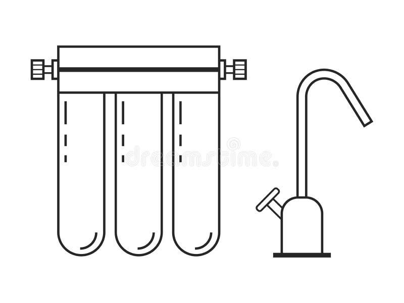 Водяной фильтр Плоские линейные значок и объект также вектор иллюстрации притяжки corel бесплатная иллюстрация