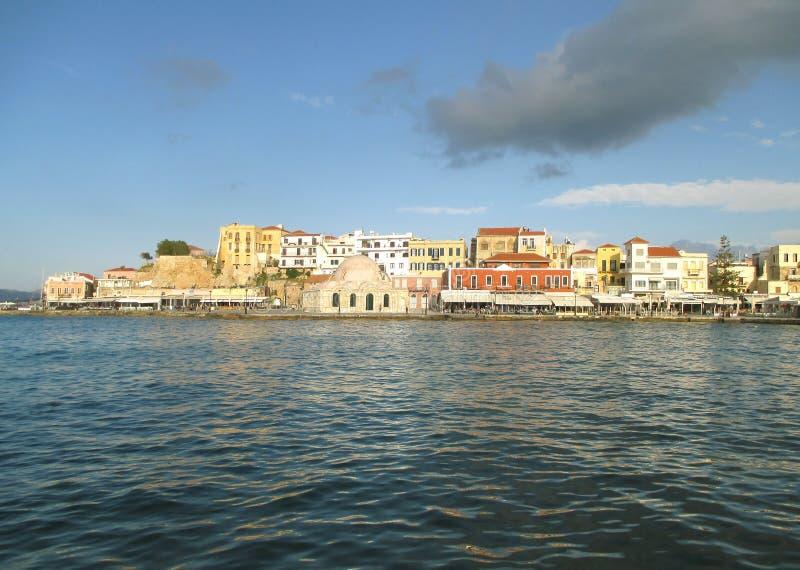 Впечатляющий городок Chania старый и исторический венецианский порт, остров Крита, Греция стоковое изображение rf