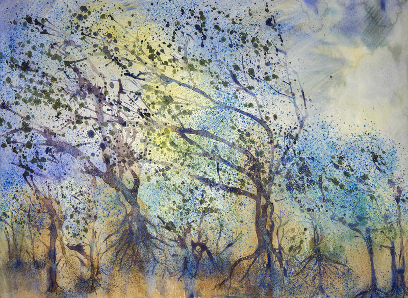 Впечатление леса в штормовой погоде иллюстрация штока