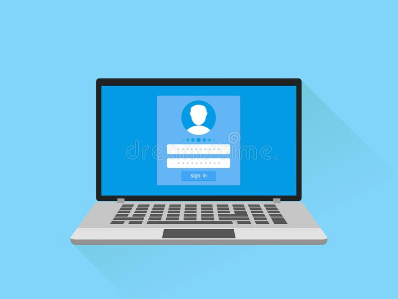 Впишите концепцию имени пользователя и пароля Компьтер-книжка с страницей формы имени пользователя на экране Подпишите внутри к в иллюстрация вектора