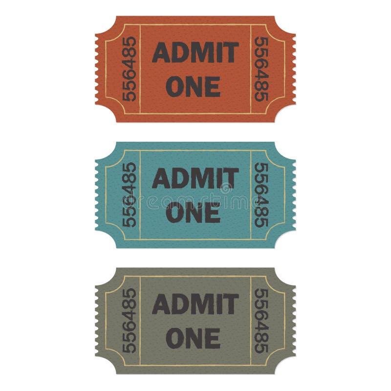 Впустите один комплект билета изолированный на белой предпосылке Красочная иллюстрация вектора билета кино или театра ретро иллюстрация вектора