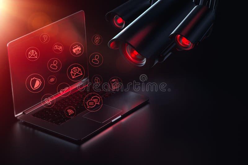 Враждебный компьютер поисков камер для паролей, здравых данных и возможных backdoors Наблюдение интернета Уязвимость для стоковая фотография