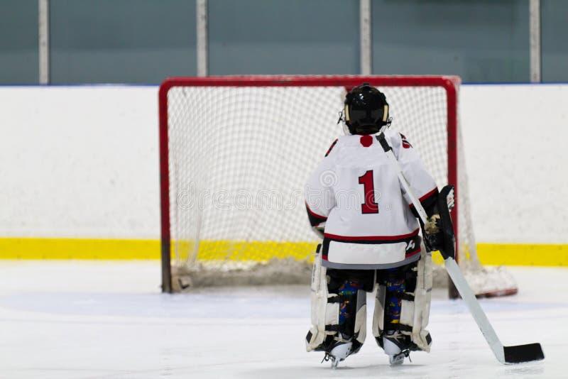 Вратарь хоккея катаясь на коньках сеть стоковое фото rf