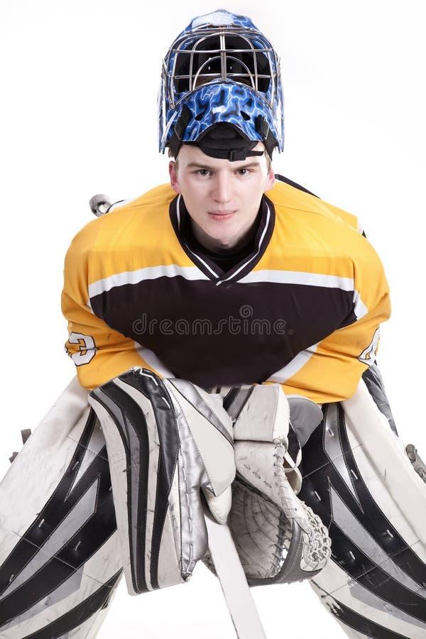 Вратарь хоккея на льду стоковые изображения rf