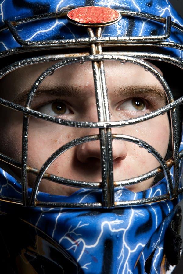 Вратарь хоккея на льду стоковое изображение