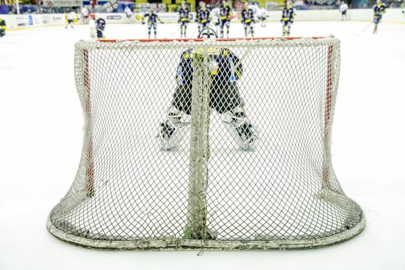 Вратарь хоккея на льде во время игры стоковое изображение rf