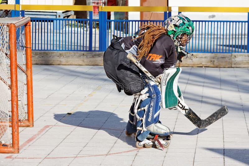 Вратарь хоккея улицы стоковое изображение