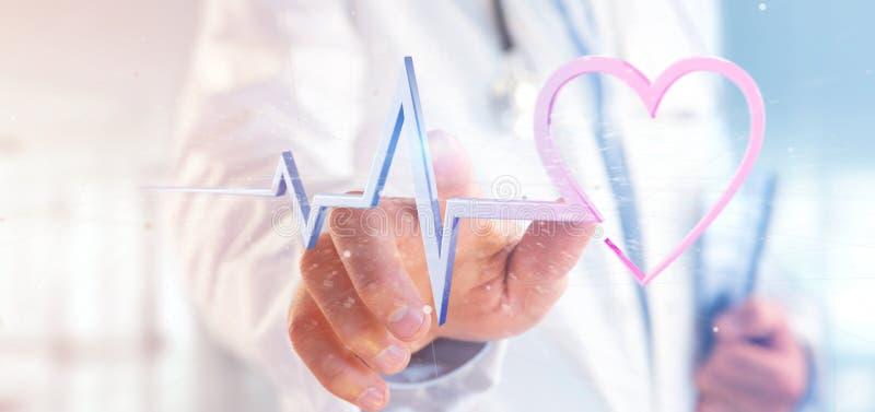 Врачуйте держать 3d представляя медицинскую кривую сердца стоковые изображения rf