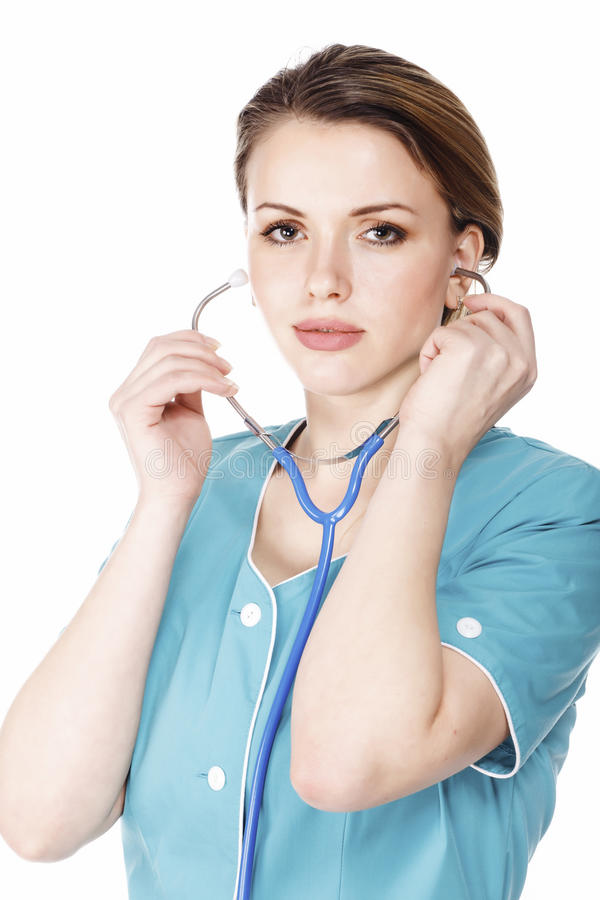 врачуйте женский стетоскоп стоковые изображения rf