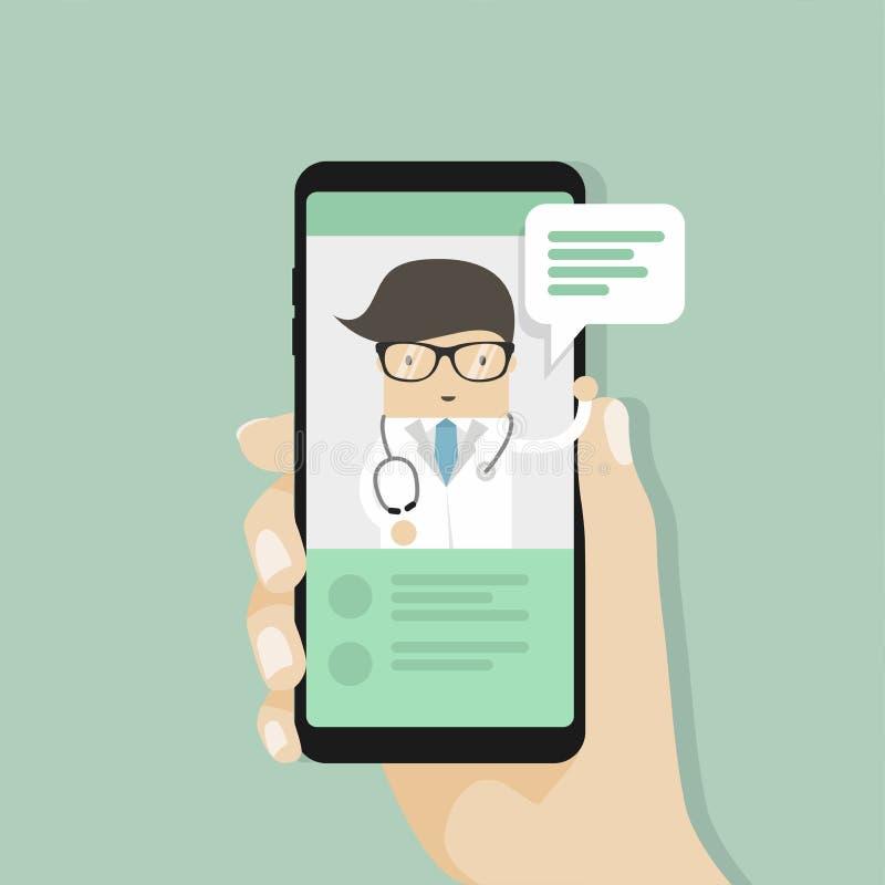Врачуйте медицинскую консультацию онлайн, болтовню в реальном маштабе времени с доктором, службу здравоохранения интернета бесплатная иллюстрация