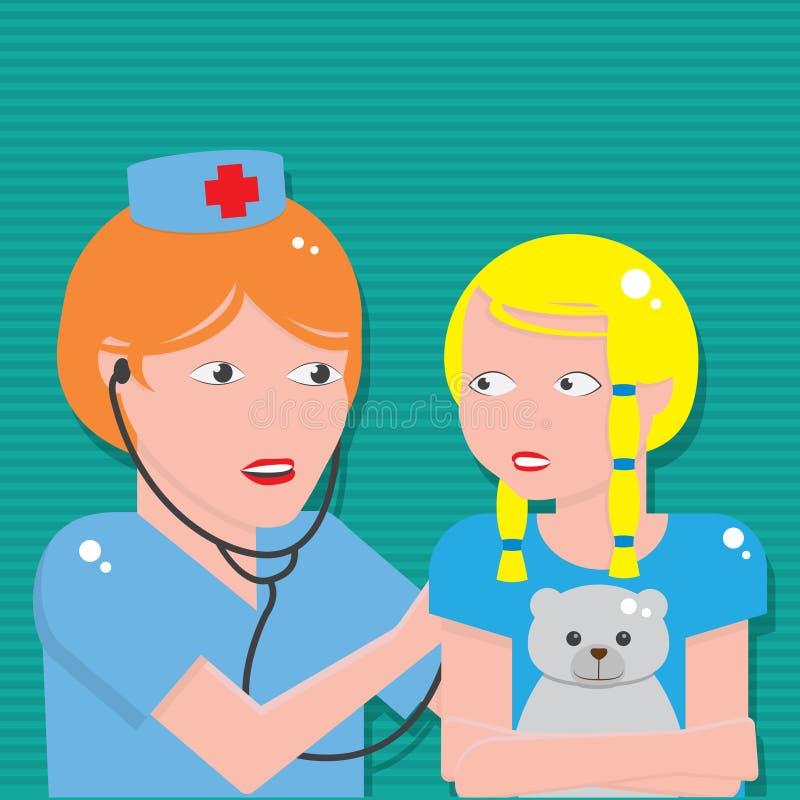Врачуйте слушать к комоду пациента с стетоскопом бесплатная иллюстрация