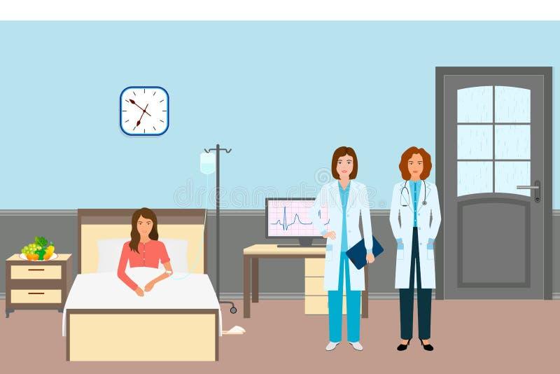 Врач и медсестра с женским пациентом Работники медицины стоя около больной женщины в больничной палате иллюстрация штока