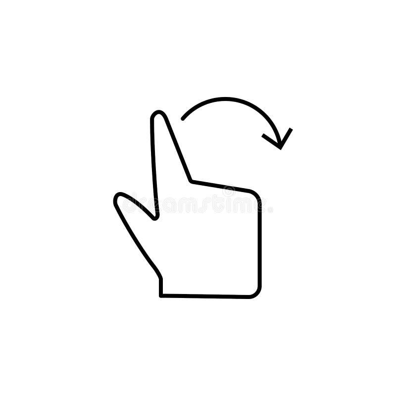 Вращайте, вручите, касайтесь, значок пальца Элемент значка коррупции Тонкая линия значок на белой предпосылке иллюстрация штока