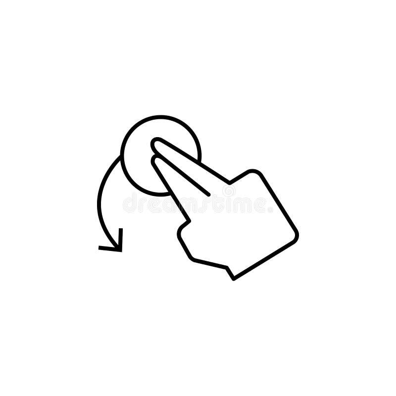 Вращайте, палец, касание, значок жеста Элемент значка коррупции Тонкая линия значок на белой предпосылке иллюстрация вектора