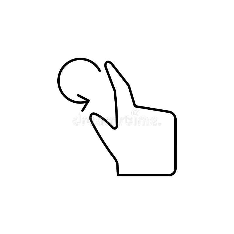 Вращайте, палец, касание, значок руки Элемент значка коррупции Тонкая линия значок на белой предпосылке иллюстрация вектора