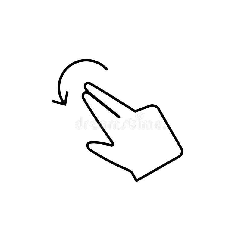Вращайте, показывайте жестами, значок пальца Элемент значка коррупции Тонкая линия значок на белой предпосылке иллюстрация штока