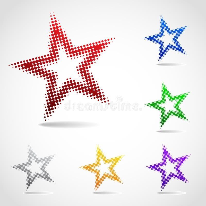 Вращанная икона звезды сделанная полутонового изображения ставит точки иллюстрация штока