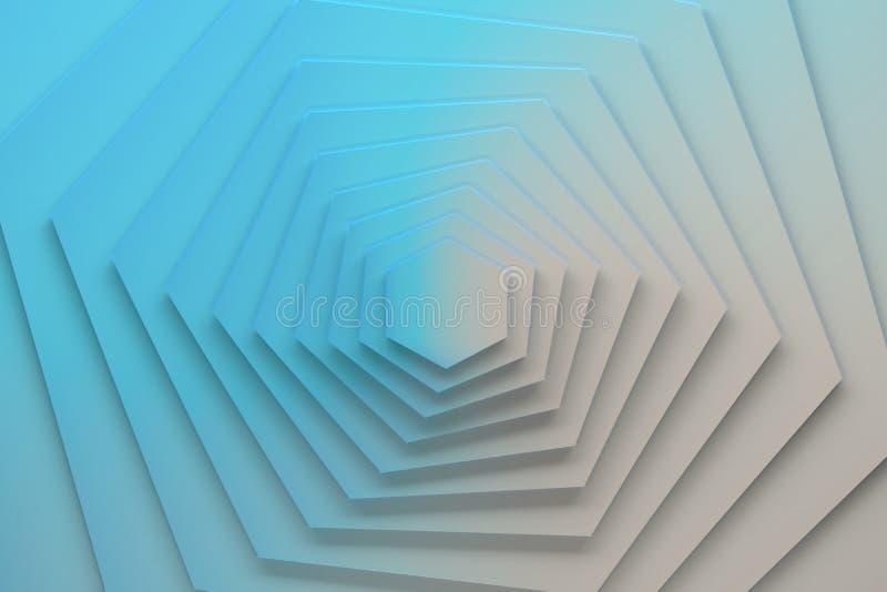 Вращанные шестиугольники покрашенные в голубом и белом градиенте иллюстрация штока