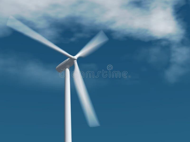 вращая одиночный ветер турбины стоковые фотографии rf