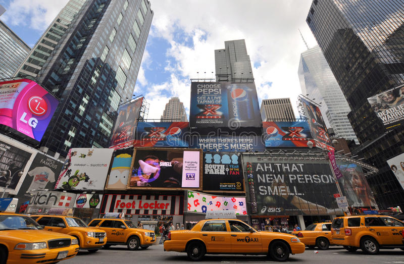 времена желтый york города кабины новые квадратные стоковая фотография