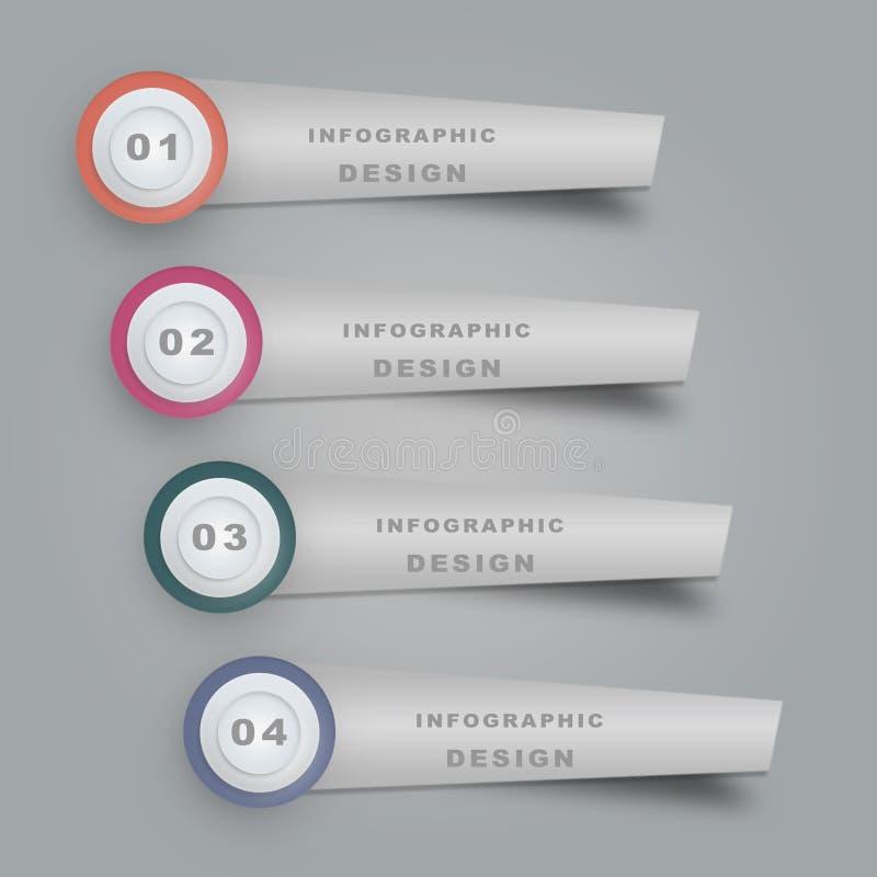 Временная последовательность по концепции дела Шаблон Infograph, реалистическая бумага 4 шагает infographic иллюстрация штока