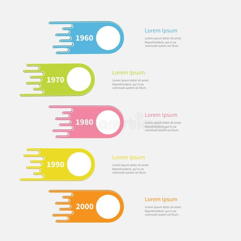 Временная последовательность по Infographic 5 шагов Вертикальная красочная форма кометы с круглым кругом шаблон Плоский дизайн Бе иллюстрация вектора