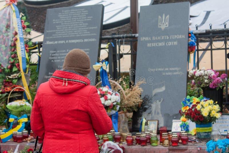 Временный мемориал на Maydan Nezalezhnosti стоковое фото rf
