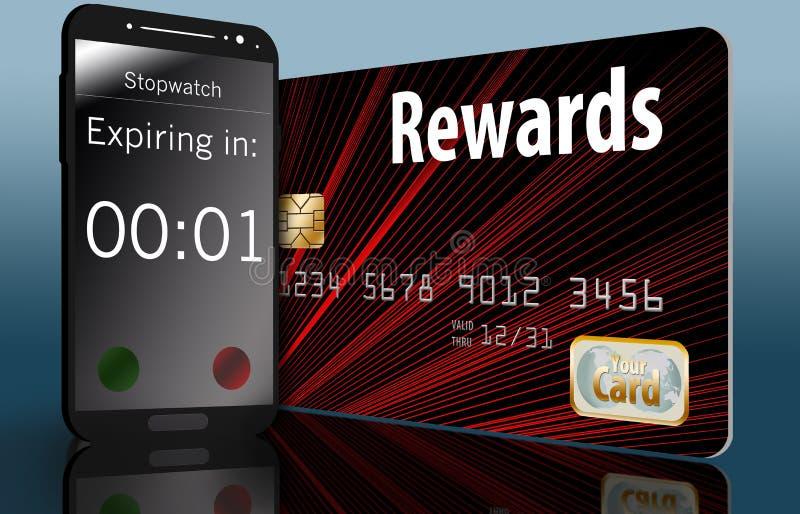 Время бежит вне на теряя силу вознаграждениях кредитной карточки и время на сотовом телефоне рядом с карточкой делает этот пункт иллюстрация вектора