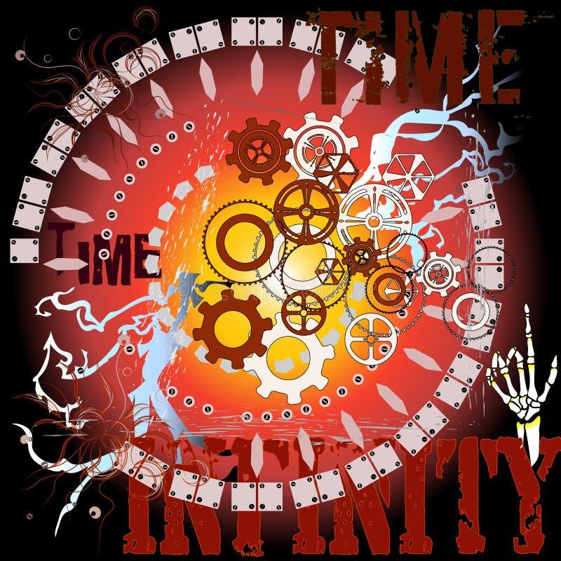 Время, безграничность, механизм часов, Gearwheels иллюстрация вектора