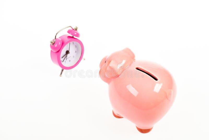 Время богатства r семейный бюджет запуск дела финансовое положение успех в финансах и коммерции piggy стоковые изображения