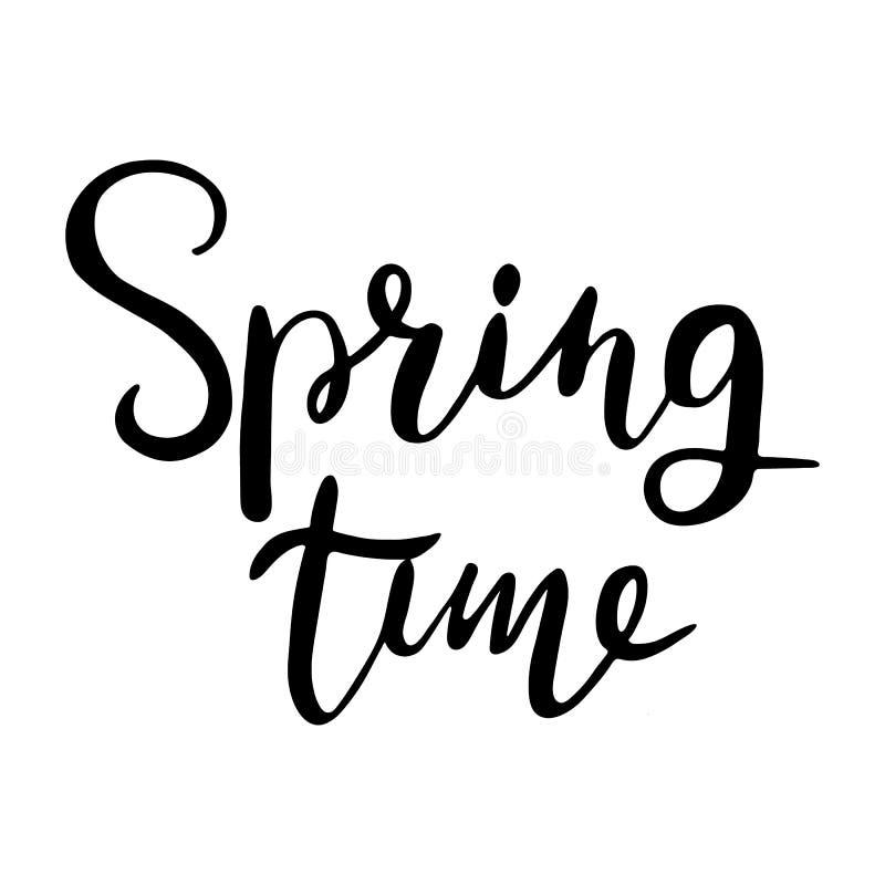 Время весны… подняло листья, естественная предпосылка Литерность руки, типографский элемент Конструируйте для футболок, приглашен иллюстрация штока