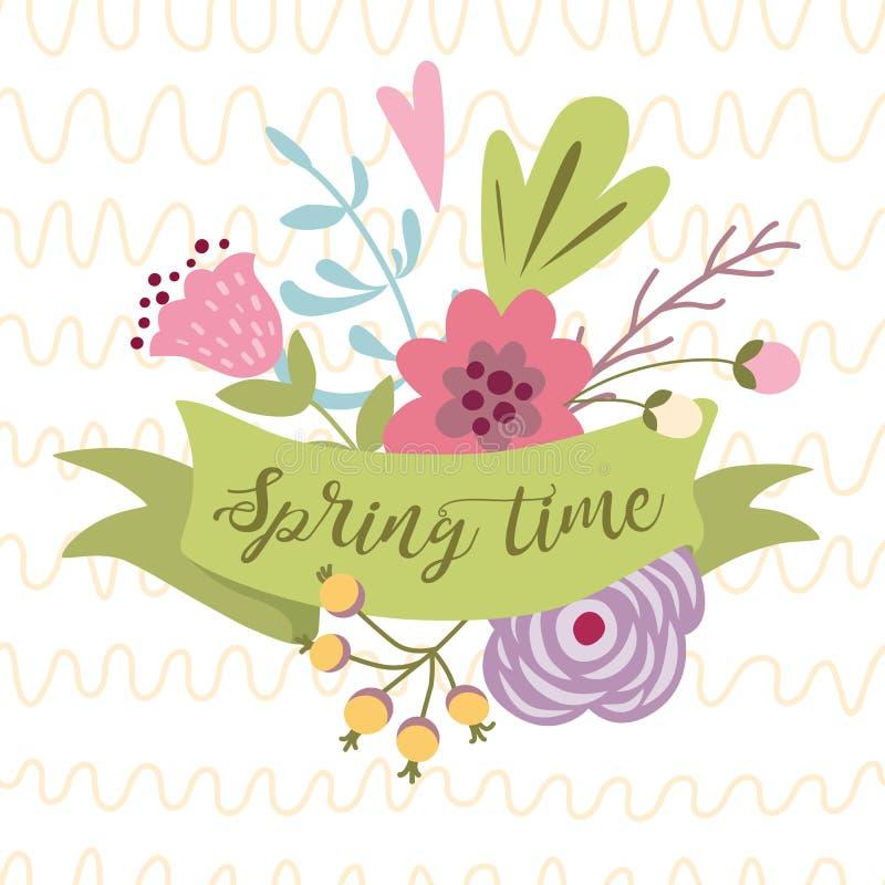Время весны текста весны вектора на украшенных лентой цветах иллюстрации оформления вектора цветка руки вычерченных иллюстрация штока