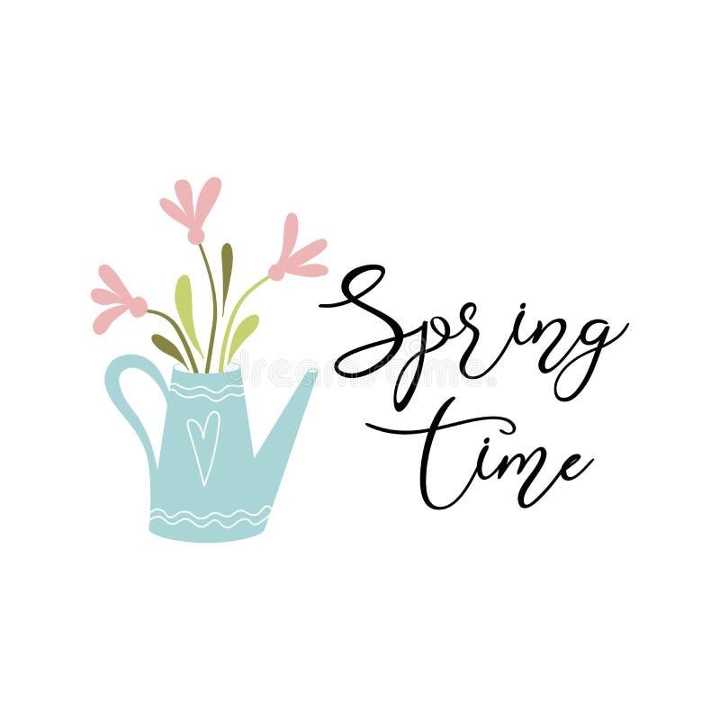 Время весны текста вектора весны цитаты оформления украсило нарисованные рукой цветки моча консервной банки иллюстрация вектора